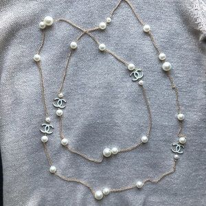 New CHANEL Pearl Chain Long CC Necklace